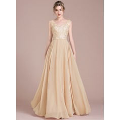 A-Line/Princess V-neck Floor-Length Chiffon Lace Prom Dress With Beading Sequins (018116384)