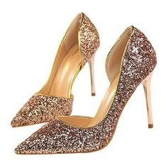 Женщины Мерцающая отделка Высокий тонкий каблук Сандалии На каблуках Закрытый мыс обувь