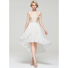 A-Line/Princess Scoop Neck Asymmetrical Chiffon Homecoming Dress With Cascading Ruffles (022087592)