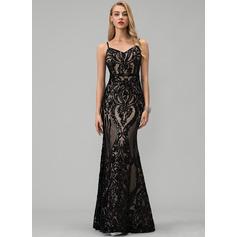 Раструб/Платье-русалка V-образный Длина до пола С блестками Платье Для Выпускного Вечера