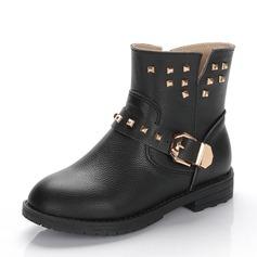 Ragazze Pelle vera Heel piatto Punta chiusa Stivali alla caviglia Stivali con Fibbia Rivet Cerniera
