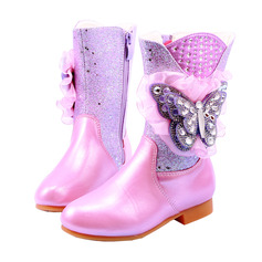 Mädchens Stiefel-Wadenlang Leder Blumenmädchen Schuhe mit Blume