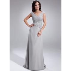 A-linjainen/Prinsessa Off--Shoulder Ylipitkä/Laahus Sifonki Morsiamen äiti-mekko jossa Rypytys Helmikoristelu Paljetit