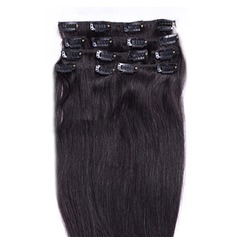 4A Ej remy Rakt människohår Klämma i hårförlängningar 8pcs 100g