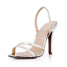 Imitação de couro Salto agulha Sandálias Bombas Peep toe Sapatos abertos sapatos