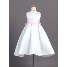 Ball Gown Ankle-length Flower Girl Dress - Satin Sleeveless Scoop Neck With Sash/Bow(s) (010007314)