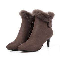Kvinder Ruskind Stiletto Hæl Pumps Støvler med Bowknot Lynlås Pels sko (088103887)