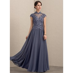 A-Line High Neck Floor-Length Chiffon Lace Evening Dress With Sequins