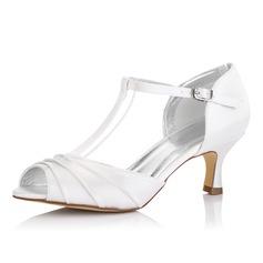 De mujer Satén Tacón carrete Encaje Sandalias Zapatos Que Se Pueden Teñir