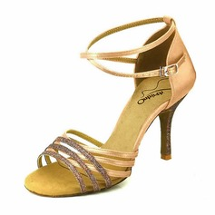 Femmes Satiné Talons Latin avec Boucle Ouvertes Chaussures de danse