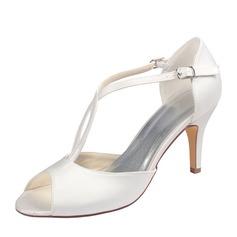 Women's Plastics Stiletto Heel Peep Toe Platform With Button