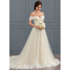 Ball-Gown Off-the-Shoulder Court Train Tulle Lace Wedding Dress With Ruffle (002124264)