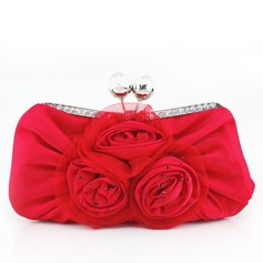 Gorgeous Silk With Flower/Rhinestone Clutches