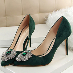 Women's Velvet Stiletto Heel Closed Toe Pumps With Rhinestone Others (047109366)