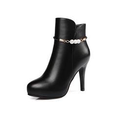 Women's Leatherette Stiletto Heel Platform Ankle Boots shoes