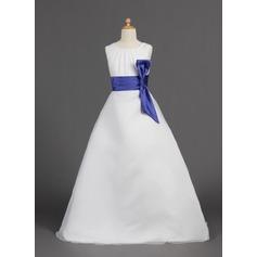 A-Linie/Princess-Linie Bodenlang Blumenmädchenkleid - Organza/Satin Ärmellos U-Ausschnitt mit Schleifenbänder/Stoffgürtel