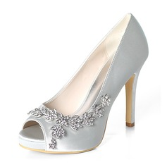 Women's Silk Like Satin Stiletto Heel Peep Toe Platform Pumps With Rhinestone (047195480)