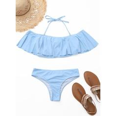 Mooi Effen kleur Strapless Lage Taille Polyester Spandex Kleur De Bikinis Zwempak