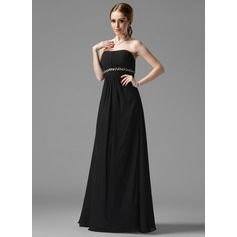 Empire Strapless Floor-Length Chiffon Bridesmaid Dress With Ruffle Beading (007001753)