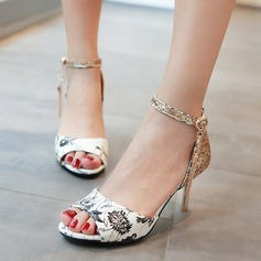 Women's Leatherette Stiletto Heel Sandals Pumps Peep Toe With Buckle Others shoes