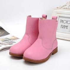 Flicka Real Leather platt Heel Stängt Toe Stövlar