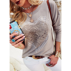 Lace Solid Round Neck Long Sleeves Casual T-shirt (1003255216)