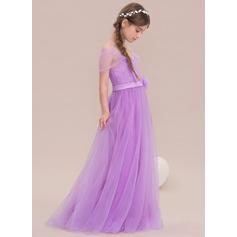 A-Lijn/Prinses Off-the-schouder Vloer lengte Tule Junior Bruidsmeisjes Jurk met Bloem(En)