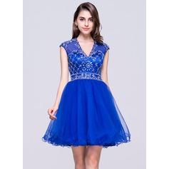 Vestidos princesa/ Formato A Decote V Curto/Mini Tule Vestido de boas vindas com Bordado Lantejoulas