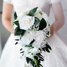 Simple And Elegant Cascade Silk Flower Bridal Bouquets - Bridal Bouquets