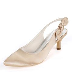 Mulheres como o cetim de seda Salto agulha Bombas Sapatos abertos com Bowknot Faixa Elástica