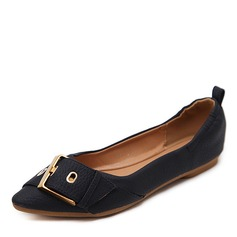Женщины кожа Плоский каблук На плокой подошве Закрытый мыс с Баттон обувь