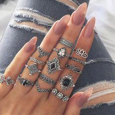 Unique Alloy Women's Fashion Rings (Set of 15 pairs)