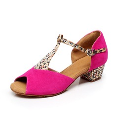 Kids' Suede Heels Sandals Latin With T-Strap Dance Shoes