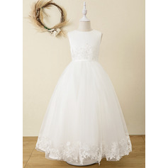 Ball-Gown/Princess Ankle-length Flower Girl Dress - Satin/Tulle/Lace Sleeveless Scoop Neck (010220919)