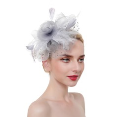 Dames Het oog Springende/Charme/Romantische Feather/Netto garen met Feather Fascinators/Kentucky Derby Hats