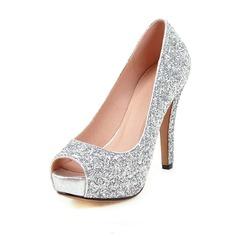 Kvinnor Glittrande Glitter Stilettklack Pumps Peep Toe med Glittrande Glitter skor