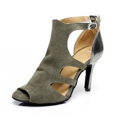 Femmes Similicuir Suède Talons Sandales Latin avec Boucle Chaussures de danse