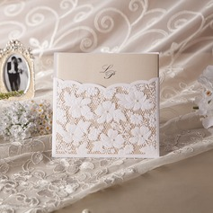 Personalized Floral Style Wrap & Pocket Invitation Cards With Beads (Set of 50)