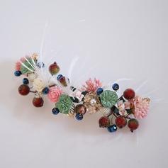 Damer Klassisk stil Legering/Fjær/Silke blomst Hårnåler