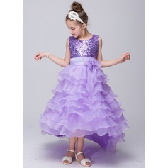 A-Line/Princess Sweep Train Flower Girl Dress - Tulle Sleeveless Scoop Neck With Sequins/Bow(s)