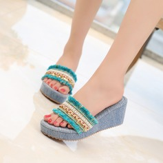 Women's Stiletto Heel Wedges Slingbacks Slippers With Sequin Imitation Pearl Tassel Braided Strap shoes