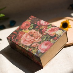 Forever Love Cuboid Card Paper Favor Boxes With Flowers