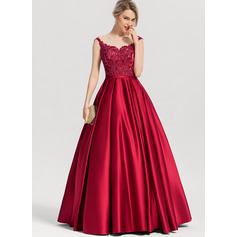 Ball-Gown/Princess Scoop Neck Floor-Length Satin Prom Dresses With Sequins (018192890)