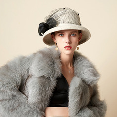 Señoras' Hermoso/Glamorosa/Encanto Mezcla de lana con Pluma/Tul Bombín / cloché Sombrero