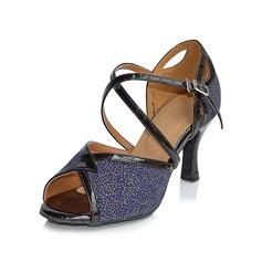 Femmes Pailletes scintillantes Talons Sandales Latin avec Boucle Ouvertes Chaussures de danse