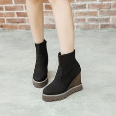 Frauen Veloursleder Keil Absatz Plateauschuh Keile mit Reißverschluss Schuhe