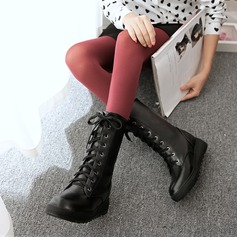 Mulheres Couro Sem salto Sem salto Plataforma Botas com Aplicação de renda sapatos