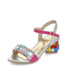 Frauen Kunstleder Stämmiger Absatz Sandalen mit Kristall Schnalle Schmuckabsatz Schuhe