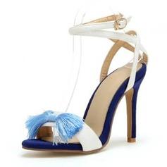 Femmes Velours Talon stiletto Sandales Escarpins À bout ouvert avec Bowknot chaussures