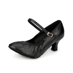 Women's Real Leather Heels Pumps Ballroom With Buckle Dance Shoes
